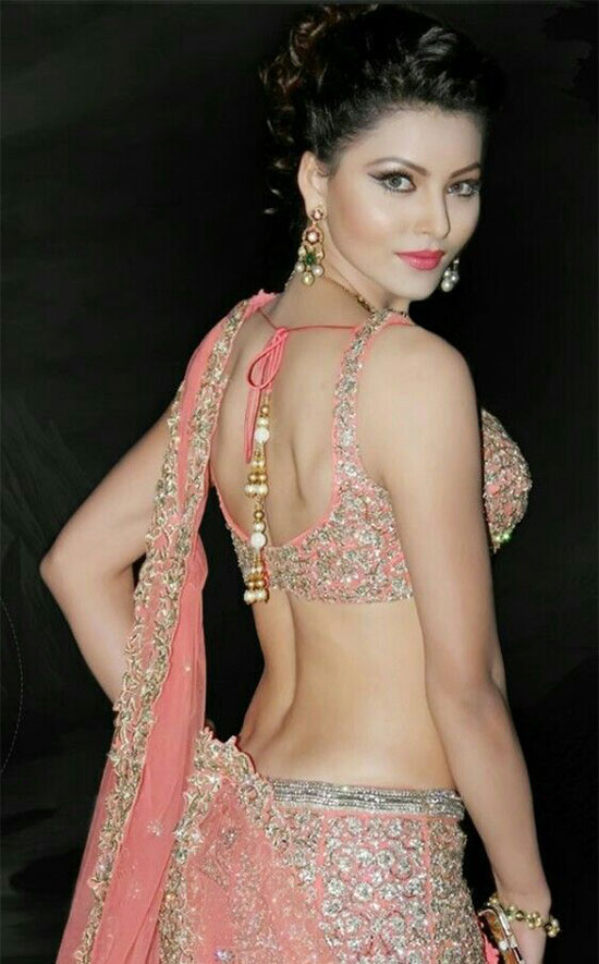 Urvashi Rautela in Pink Lehenga Choli Back