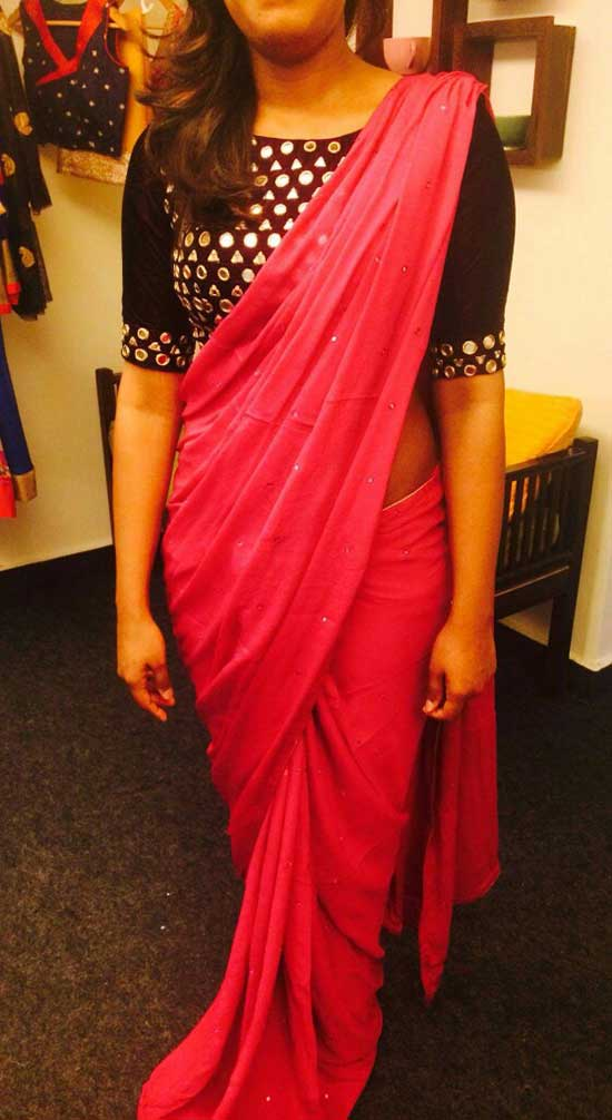 red saree with black mirror-work blouse