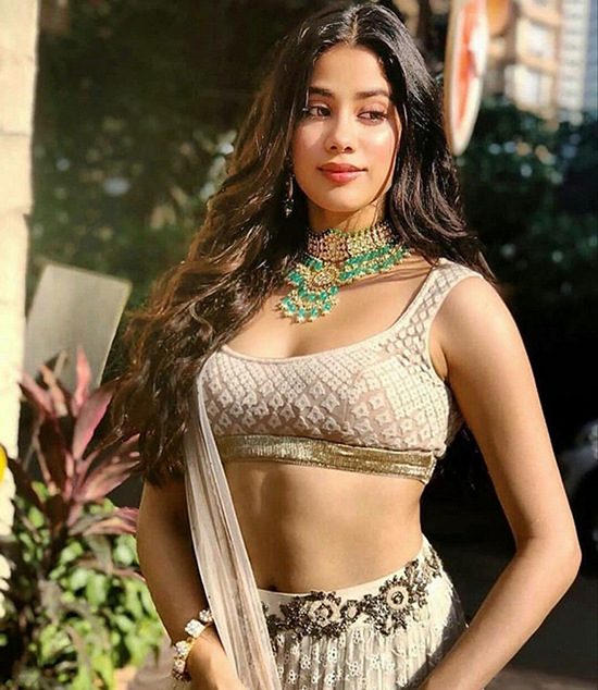Janhvi Kapoor in Light Brown Lehenga