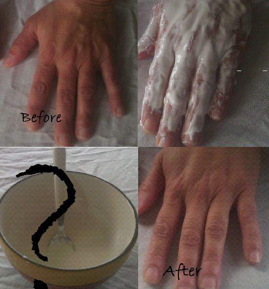 Skin lightening with rice flour. Looks amazing. You must give it a try:):