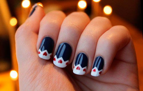 Valentine's Day Nails Navy Red White Nail Design DIY Nail Art Ideas Valentine Day Inspiration