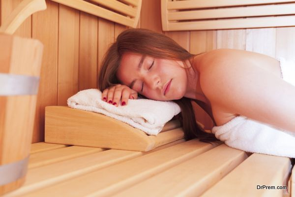 Caucasian Young Woman in a Sauna