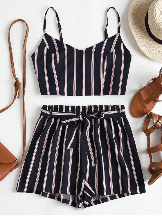 Striped-Cami-Belted-Shorts-Set