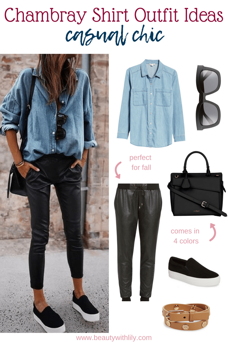 Chambray Shirt Outfit Ideas // Chambray Outfit Ideas // Casual Fall Outfit // Chambray Fall Outfit // Easy Outfits   Beauty With Lily