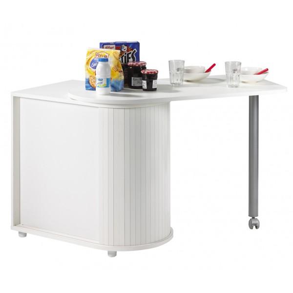 Table Pivotante Et Meuble De Rangement De Cuisine Blanc
