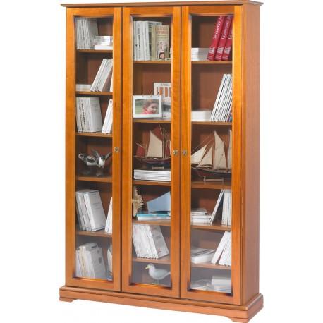 bibliotheque 3 portes vitrees merisier beaux meubles pas chers