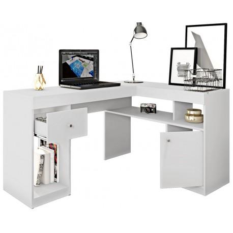 bureau d angle blanc caisson et rangements beaux meubles pas chers