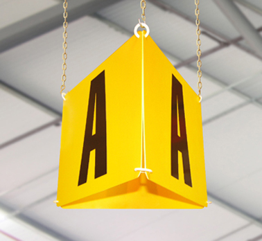 Hanging aisle markers for warehouses