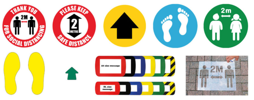 social distance floor markers and signs for the workplace