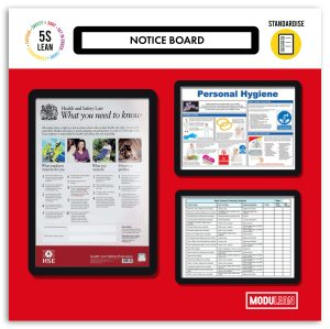 Modulean Lite Notice Board with Frames Shadow Board Red