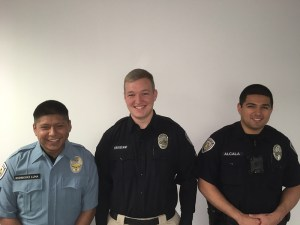 18 Cadet Raul Rodriguez Luna, Reserve Officer Josh Croissant and new hire Officer Jose Alcala