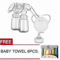 rh228-mother-manual-double-electric-breast-pump-white-with-free-towel