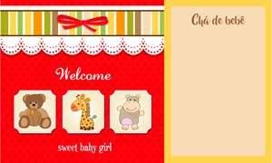 convite chá de bebê menina modelo 6