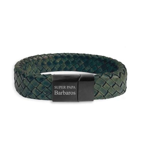 Brede groene leren armband met naam