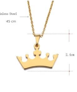 Gegraveerde kroon ketting formaat