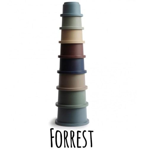 Mushie stapeltoren stacking cups forrest