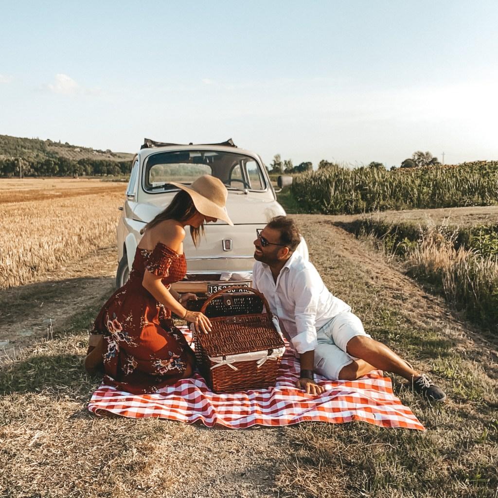 Romantic picnic in Tuscany