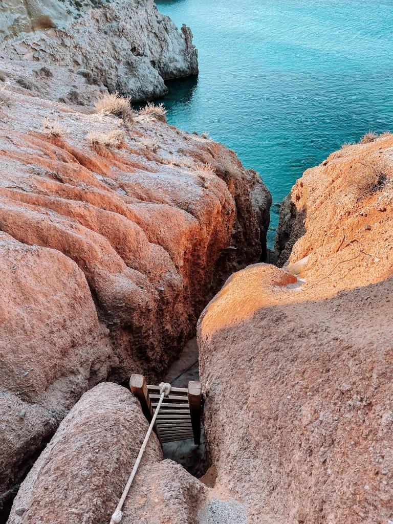 Tsigrado beach Milos ladder- percorso