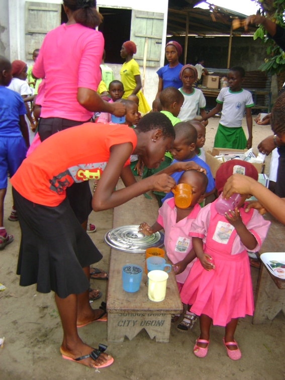 Pupils at our school in Bodo receiving albendazole to treat STH as part of our deworming efforts.