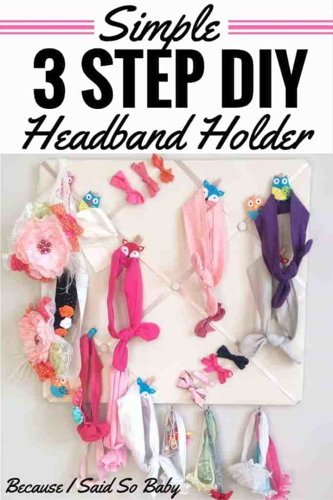 Finally found a way to organize all of Harper's headbands! Click through to check out this simple 3 step DIY headband holder!