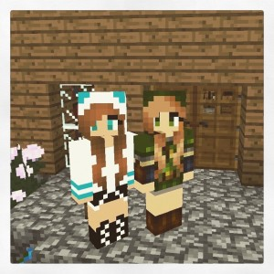 Julia and I took a Mindcraft Selfie, don't we look so cute :) She is in the white hoodie and I am in the link girl outfit. We just started a new world to play together, we always have so much fun! But she does tend to steal a lot of my stuff ;)