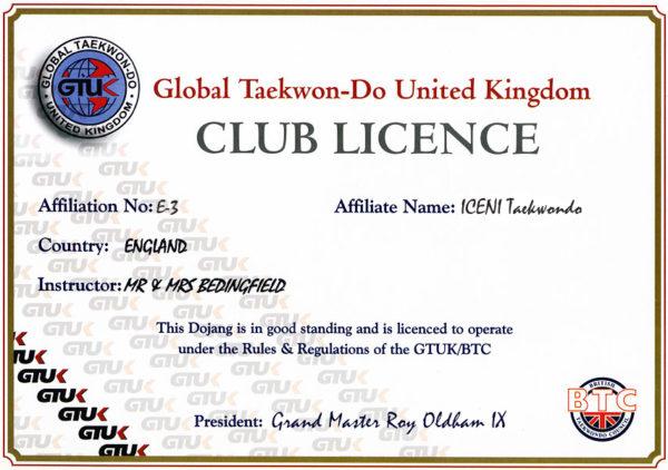 iceni taekwondo club licence