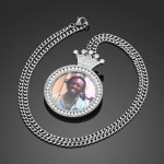 photo engraved iced out crystal hip hop jewelry photo memory necklace african american necklace namplate design