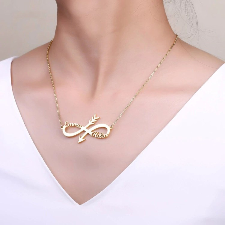 Personalized Custom Name Infinity Arrow Two Name Necklace Gold Silver Rose gold