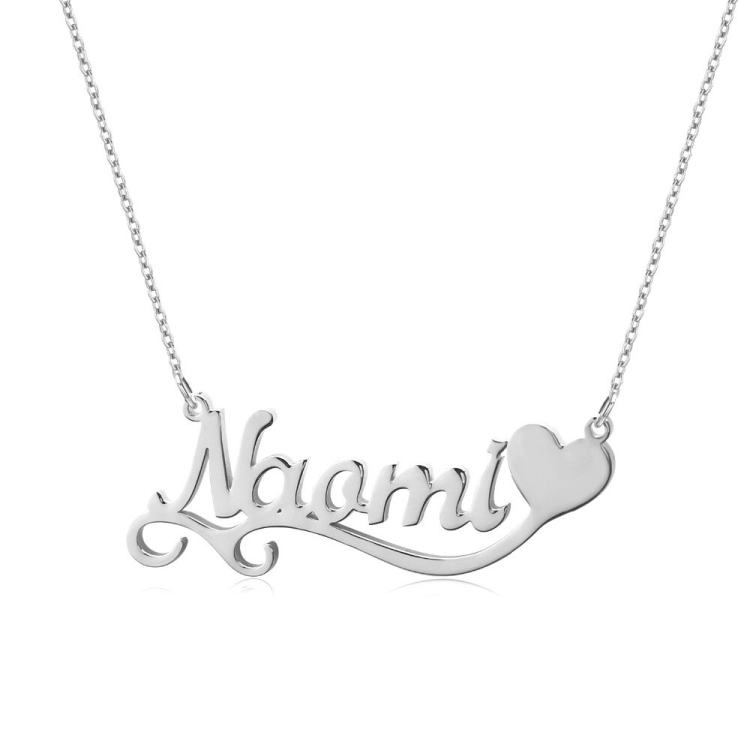 Single Heart Custom Name Necklace For Women In Silver