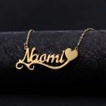 Single Heart Custom Name Wave Style Font Single Name Necklace