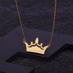 Crown Single Custom Name Necklace For Women Shiny Nameplate Necklace Crown Pendant