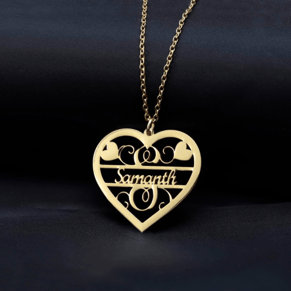 Decorative Heart Single Name Necklace Personalized Custom Name Jewelry For Women