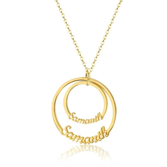 Gold Silver Double Disc Custom Names Round Nameplate Pendant For Women