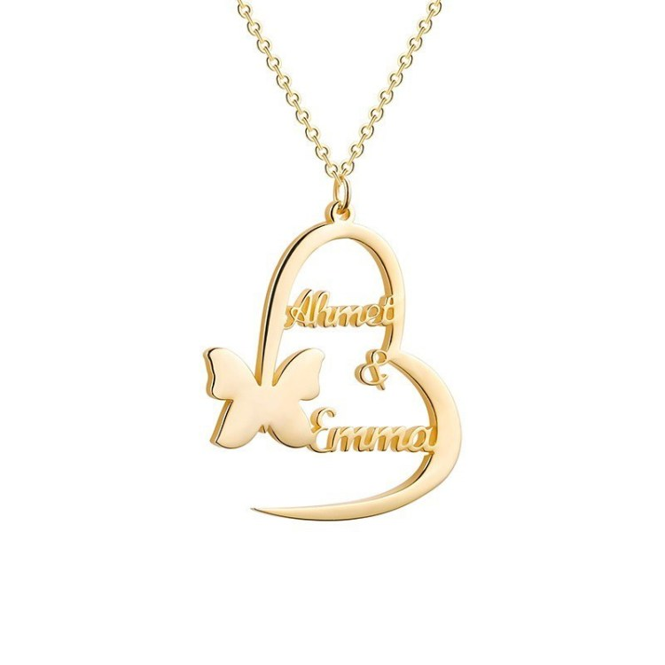 Gold Silver Rose Gold Custom Couple Name Pendant Necklace For Women