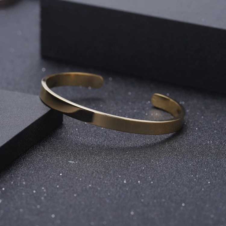 Gold Silver Rose Gold My Name Engraved Printed Front Beautiful Simple Design Personalized Bangle