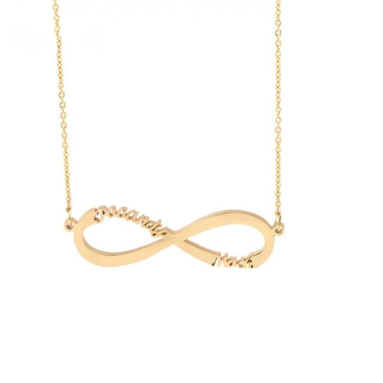 Gold Silver Rose Gold Multiple Custom Name Necklace Infinity Nameplate Pendant Celebrate Love