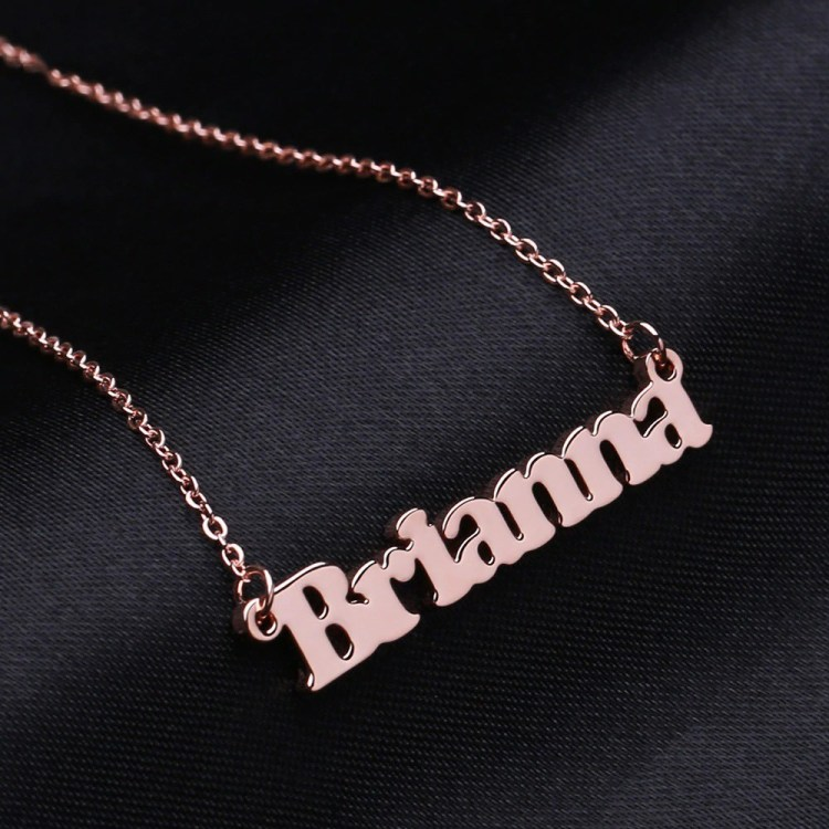 Rose Gold Custom Name Necklace Shine Nameplate Necklace Women's Name Necklace