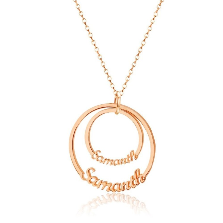 Silver Gold Rose Gold Custom Two Name Necklace For Women My Name Necklace