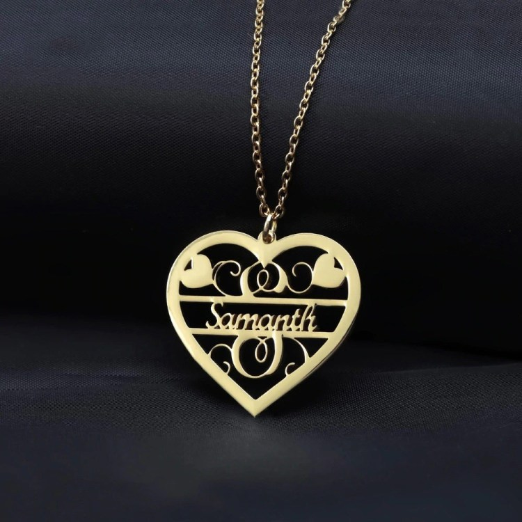 Single Name Custom Personalized Heart Pendant Name Chain Necklace