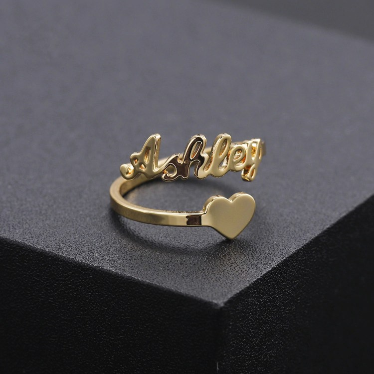 Ashley Gold Color Name Ring For Women With Personalized Custom Diamond Cut Polished Premium Heart Bottom Heart Symbol Ring