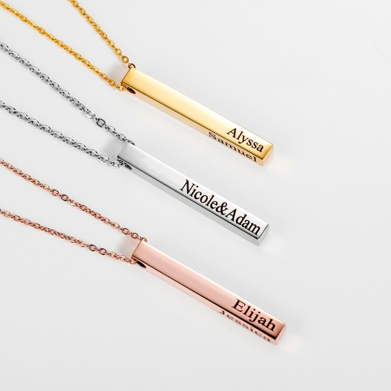 personalized engraved family bar necklace