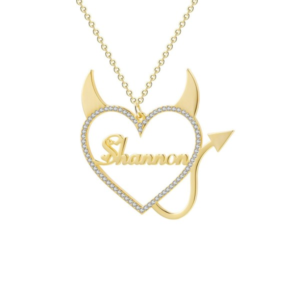Crystal Border Heart Single Custom Name Necklace Sparkling My Name Necklace With Devil Heart Spiritual Name Necklace Gold Silver Rose Gold