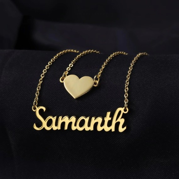Custom Layer Necklace Women's Casual Wear Jewelry Name Necklace With Beautiful Heart My Name Necklace For Love