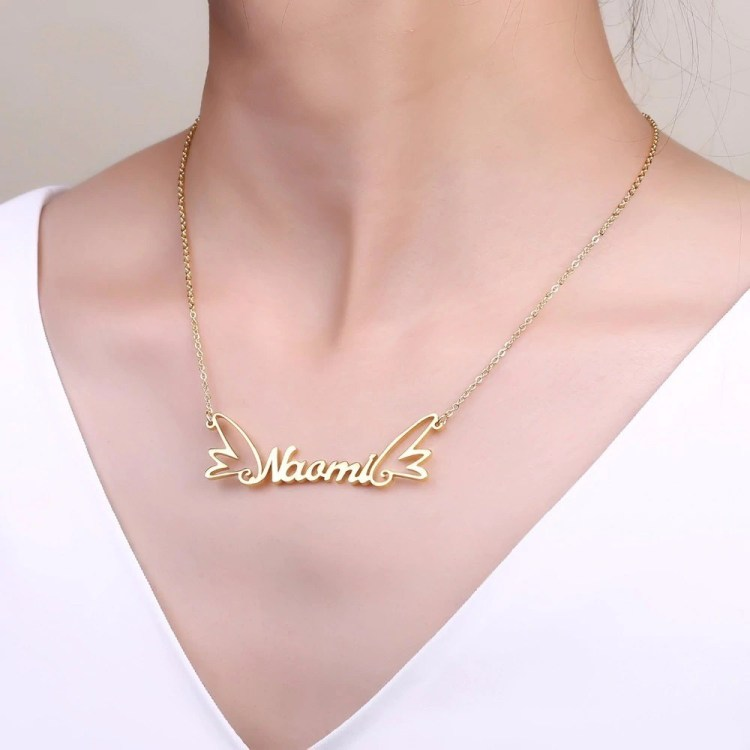 Gold Nameplate Pendant Custom Name Angel Wings My Name Necklace Shine Name Necklace For Me Regular Casual Use Name Necklace
