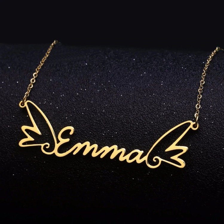 Shine Nameplate Necklace Custom Name Necklace Angel Wings Beautiful Gold Silver Rose Gold Name Necklace