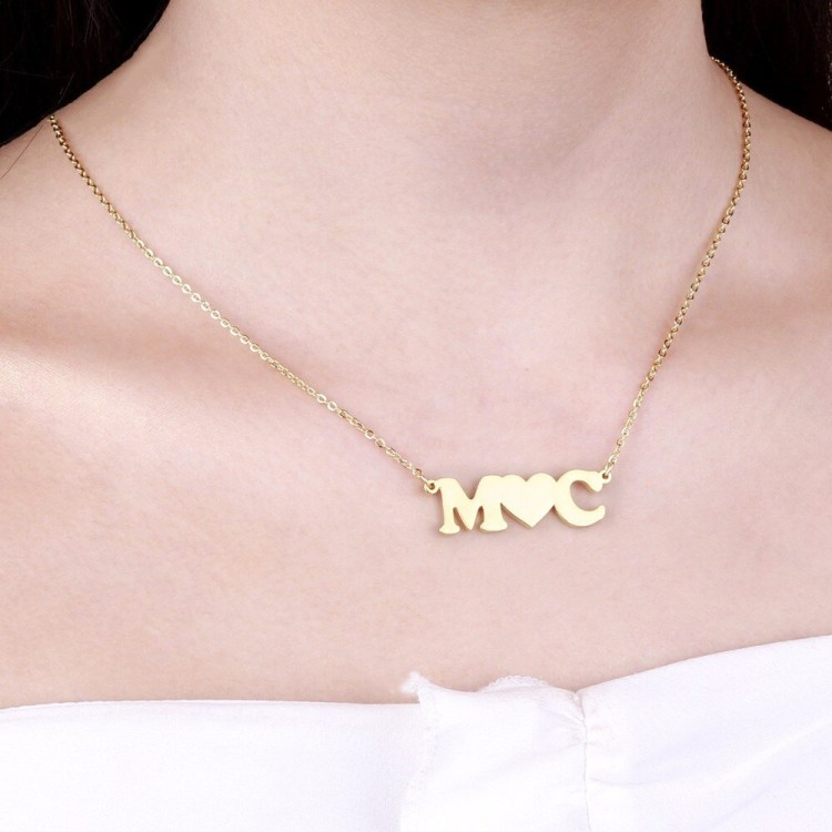 couple initial letters necklace with heart