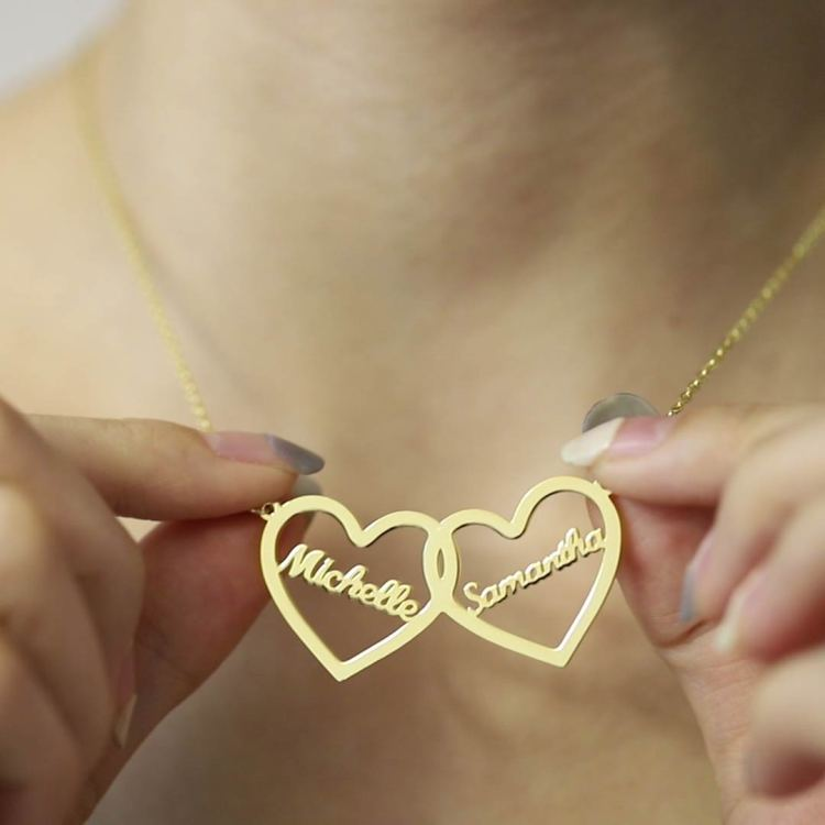 intertwined couple name inside heart symbols family two daughters mother name necklace