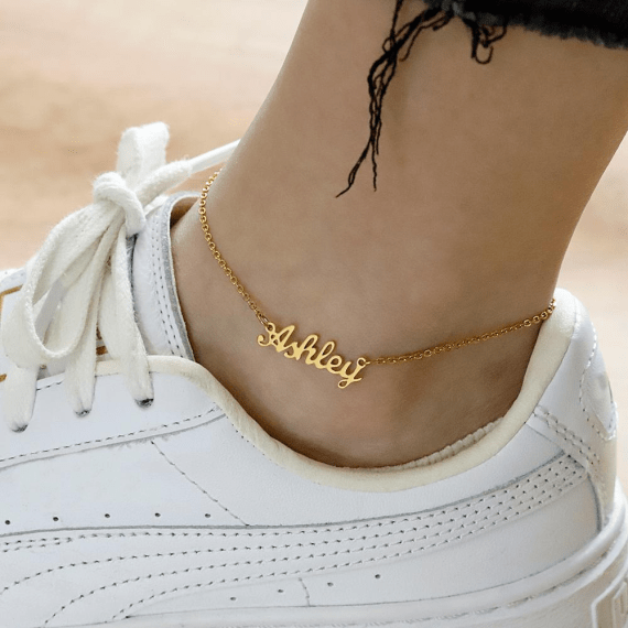 personalized name anklet for women fashion leg stainless steel gold plated waterproof