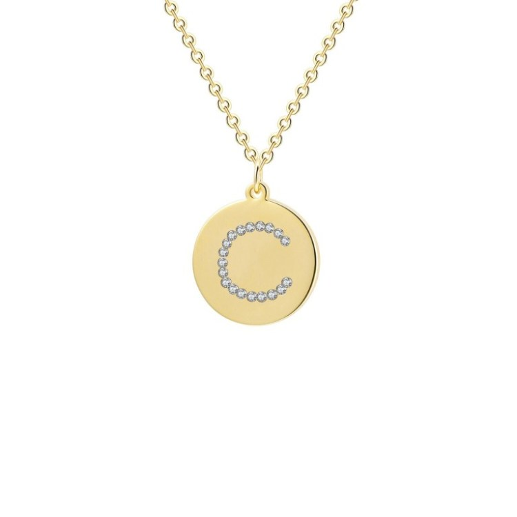 Crystal Letter Initial Circle Pendant Necklace For Women