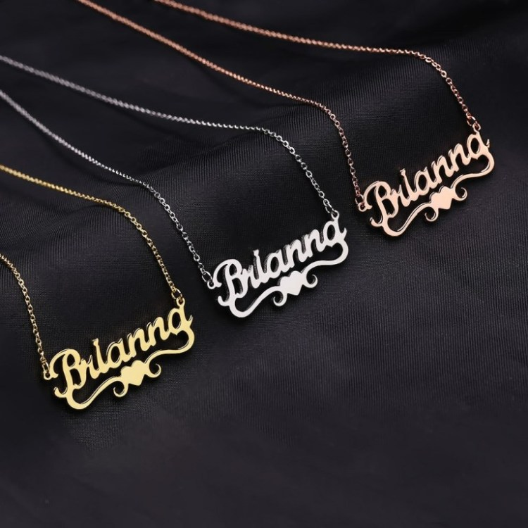 Brianna Custom Bespoke Name Necklace Women Casual Wear Gold Silver Rose Gold Necklace